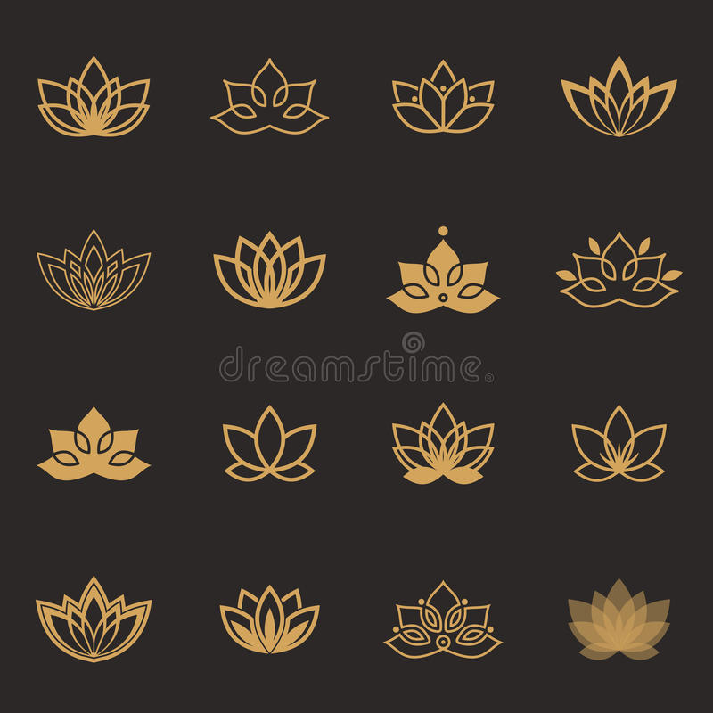 Lotus symbol icons. Vector floral labels for Wellness industry. Vector floral labels for Wellness industry stock illustration