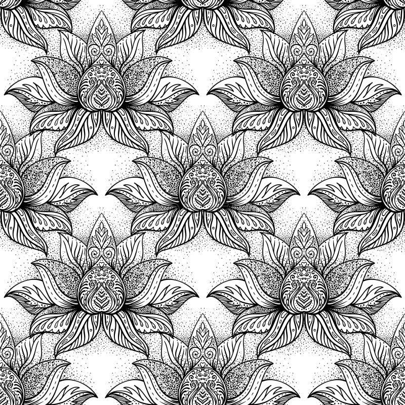 Lotus-symbool van de bloem het Heilige meetkunde met allen die oog over binnen zien stock illustratie