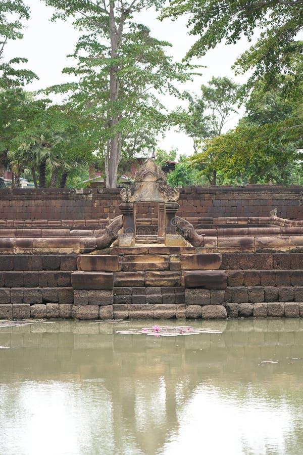 Lotus-Teich am Prasat Muang Tam in Buriram, Thailand stockbilder