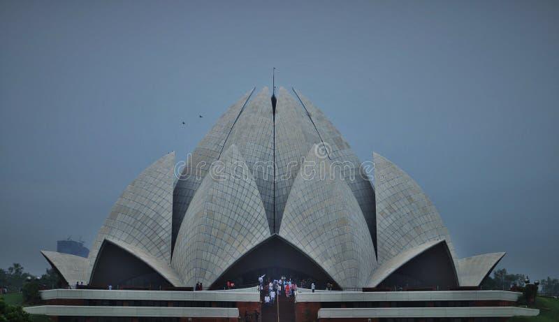 Lotus tempel på New Delhi INDIEN royaltyfria bilder