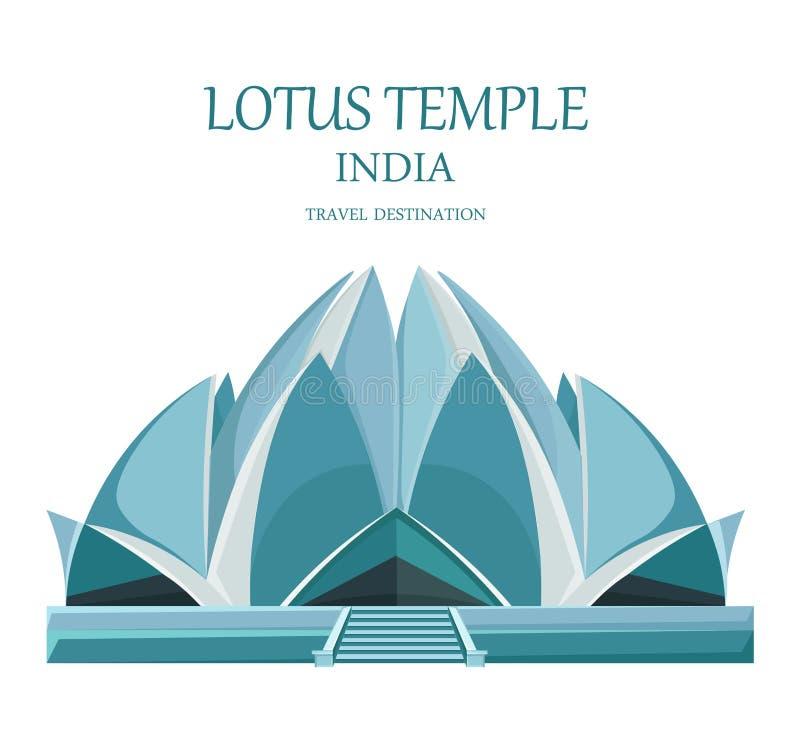 Lotus tempelIndien vektor Isolerad gränsmärkedragning loppkortillustration royaltyfri illustrationer