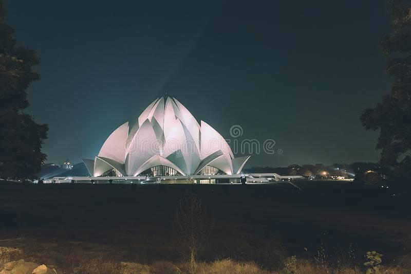 Lotus Temple at Delhi, India. Night time. Retro toning. temple of all religions. multi-faith temple royalty free stock photos