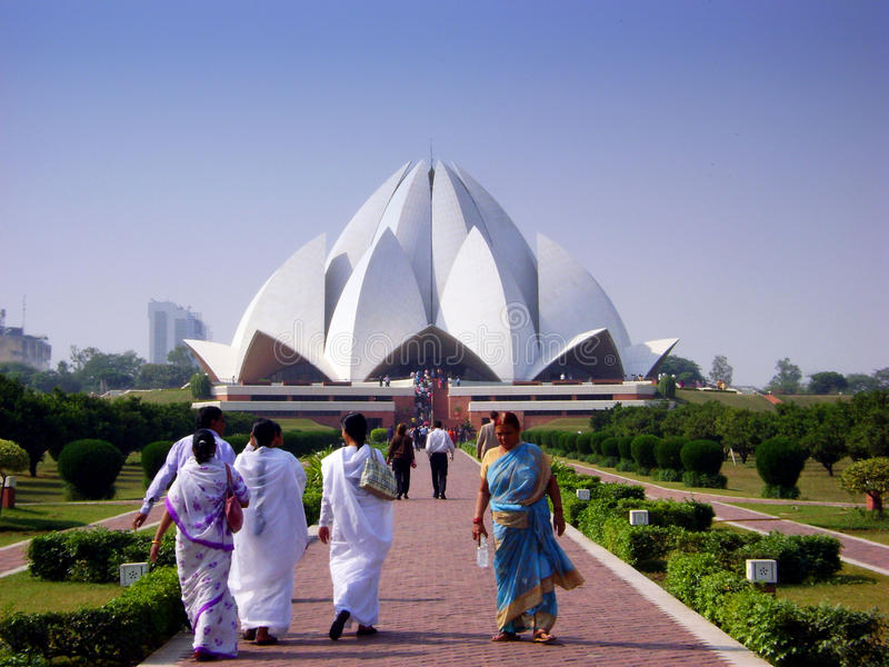 Download Lotus temple - India editorial stock image. Image of devotee - 13775829