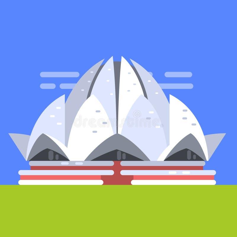 Lotus Temple In New Delhi, Beroemd Traditioneel Toeristisch Symbool van Indische Cultuur en Arhitecture vector illustratie
