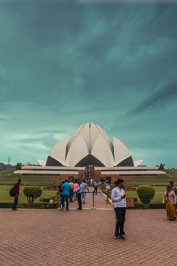 Lotus temple of New Delhi, the capital of india stock image