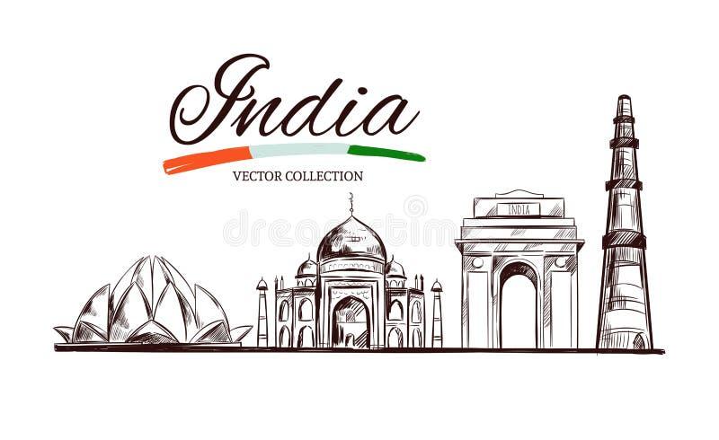 Lotus temple. Taj Mahal. Gate of India. Kutb-Minar. The Heritage of India. Vector hand drawn illustration. Sketch style. Concept. royalty free illustration