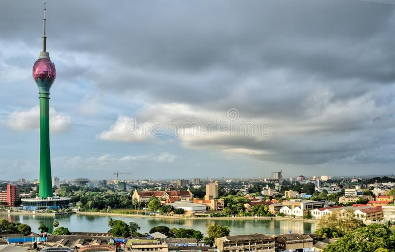 Lotus Tower and Colombo skyline. The skyline of Colombo Sri Lanka with the landmark Lotus Tower stock photos