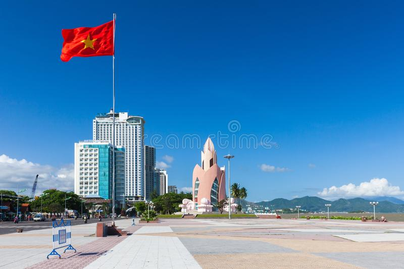 Lotus Tower and Nha Trang skyline in a sunny day, Vietnam. Daytime view of Tram Huong (Lotus Flower) Tower and Nha Trang skyline in a sunny day on December 9 stock photos