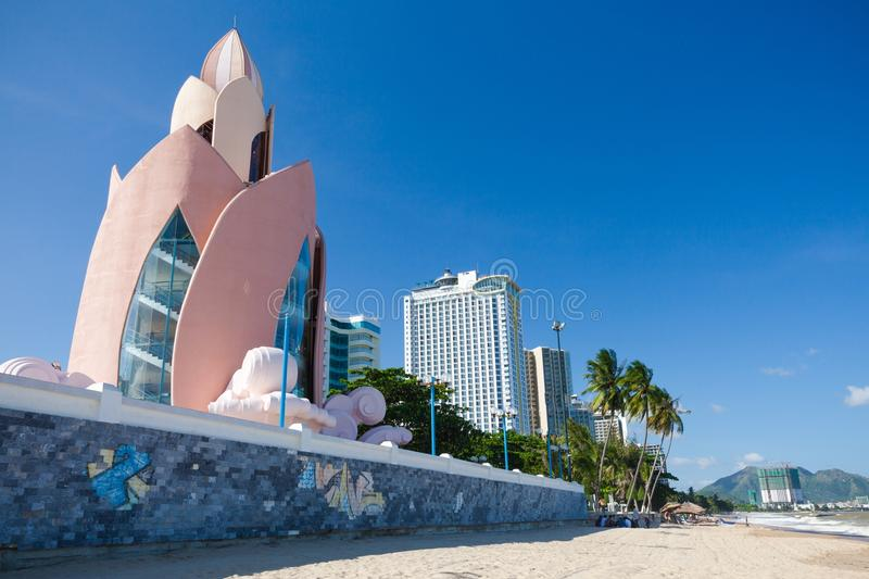 Lotus Tower and Nha Trang skyline in a sunny day, Vietnam. Daytime view of Tram Huong (Lotus Flower) Tower and Nha Trang skyline in a sunny day on December 9 royalty free stock image