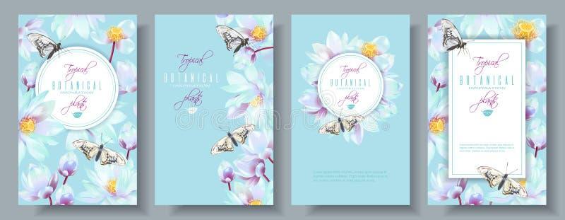 Lotus vertikal baneruppsättning royaltyfri illustrationer