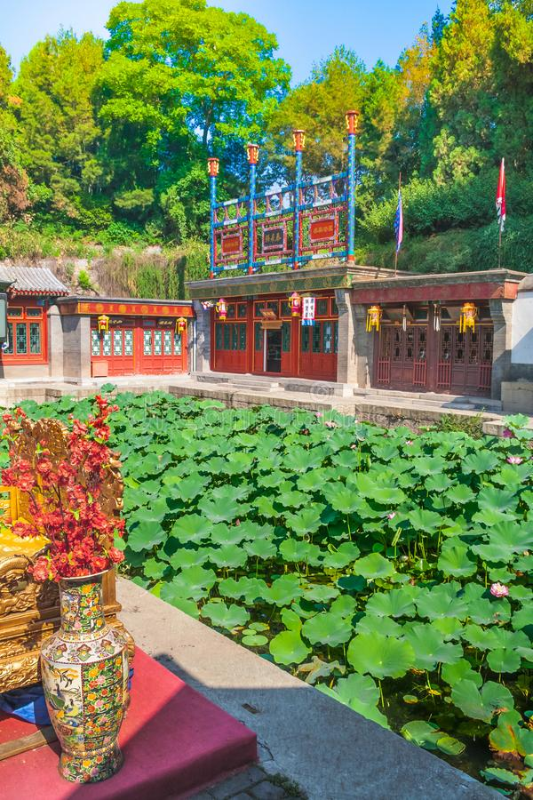 Lotus-vijver in het de Zomerpaleis, Peking, China stock afbeeldingen