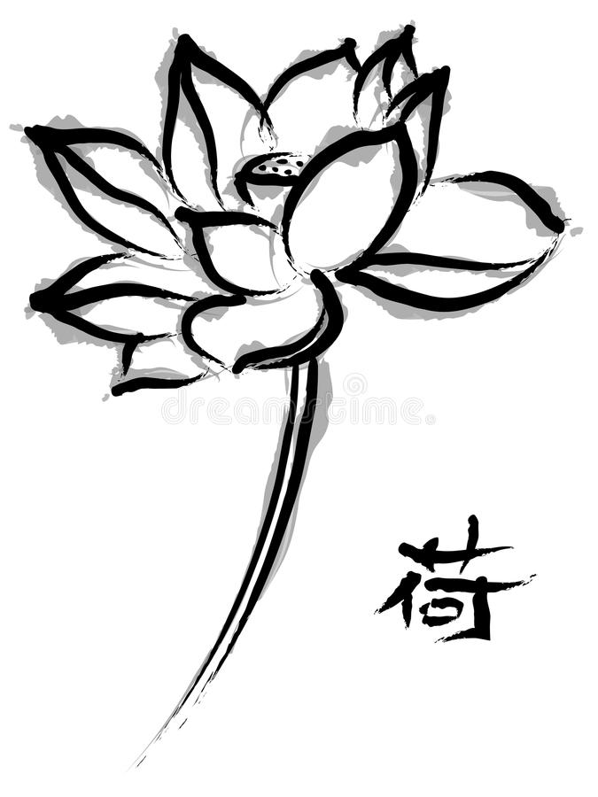 Lotus w chińskiego obrazu stylu ilustracja wektor