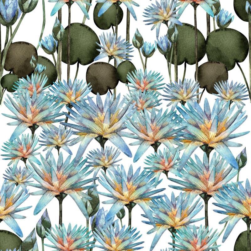 Lotus-waterverfpatroon royalty-vrije illustratie