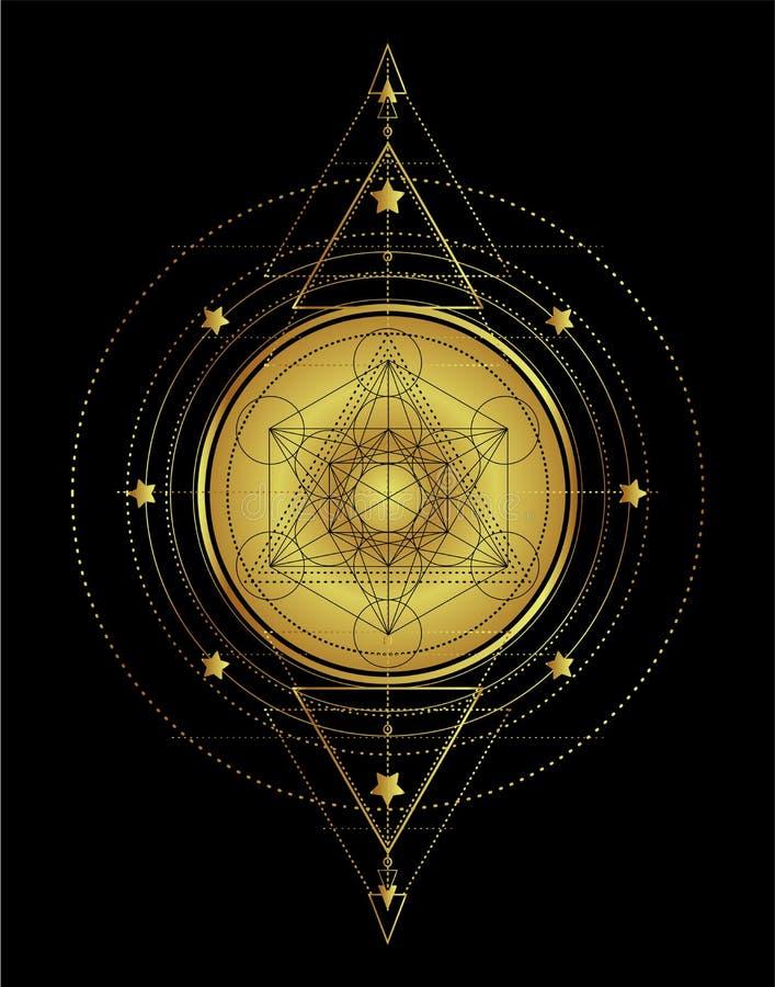 Lotus y geometría sagrada Símbolo de Ayurveda de la armonía y del balanc stock de ilustración