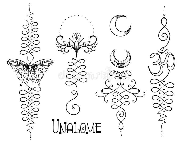Lotus y geometría sagrada Símbolo hindú de Unamole de la sabiduría y del PA stock de ilustración