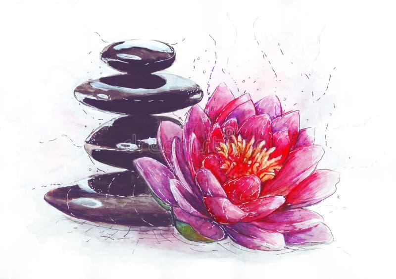 Lotus y piedras stock de ilustración