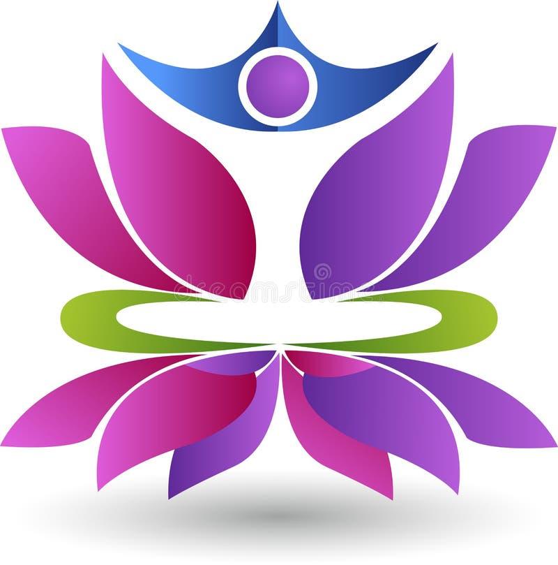 Lotus-yogaembleem stock illustratie