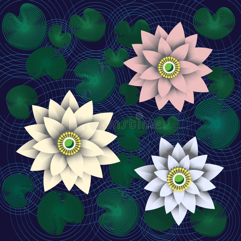Lotusbloem drie die van document op donkerblauwe achtergrond wordt gesneden vector illustratie