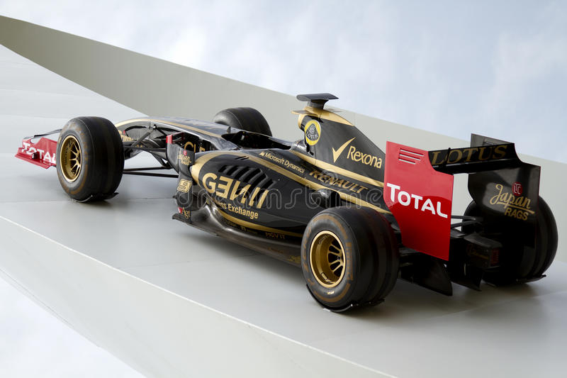 Lotusbloem-Renault Formule 1 raceauto stock afbeelding