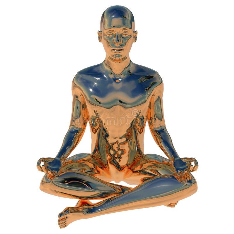 Lotusblomma f?r mannen f?r symbolet f?r j?mvikt f?r kroppen f?r nirvanameningsanda poserar guld- royaltyfri illustrationer