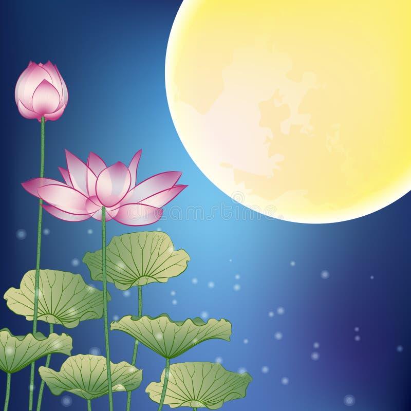 Lotusblomma och Moon på natten stock illustrationer