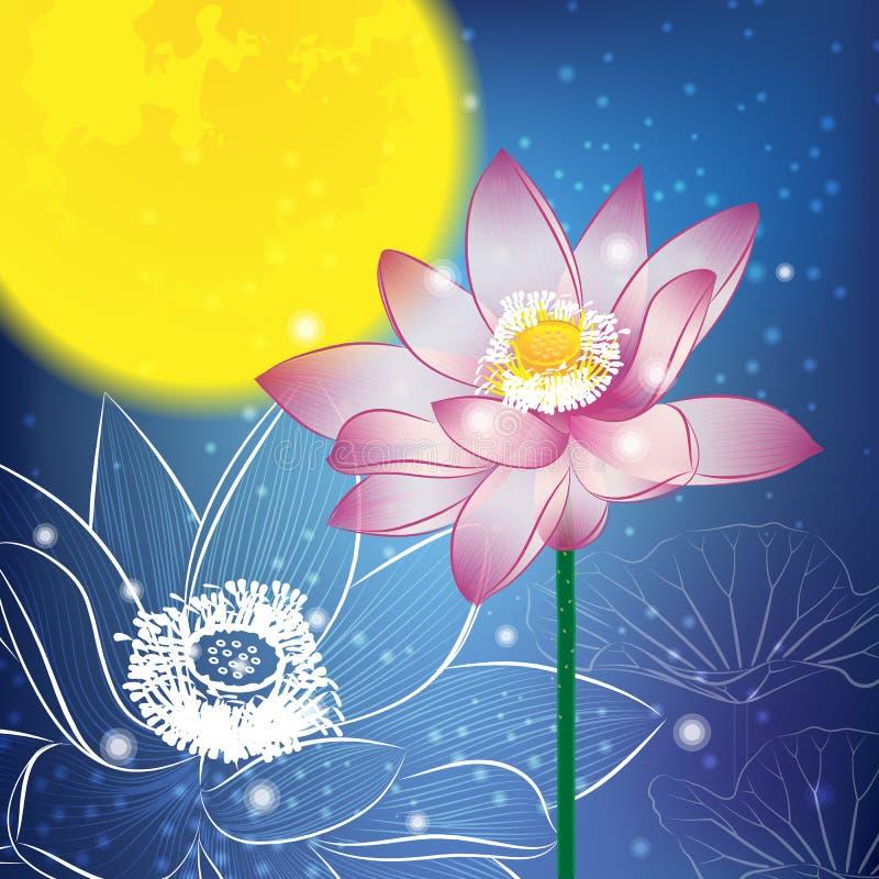 Lotusblomma och Moon på natten royaltyfri illustrationer