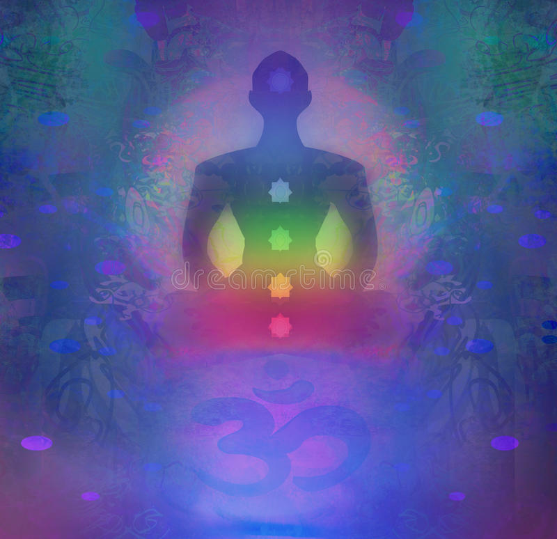 lotusblommar poserar yoga Padmasana med kulöra chakrapunkter stock illustrationer