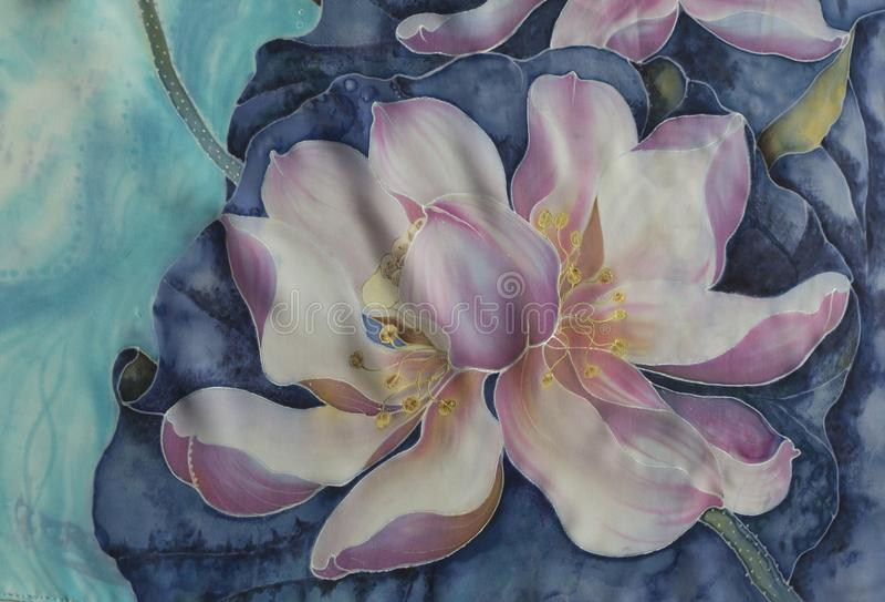 Lotuses batik Decoratieve samenstelling van bloemen, bladeren, knoppen Het gebruik drukte materialen, tekens, punten, websites, k stock illustratie