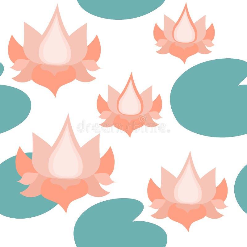 Lotus Flowers Seamless Pattern on White,  Lotuses Repeated  Pattern Backround stock illustration