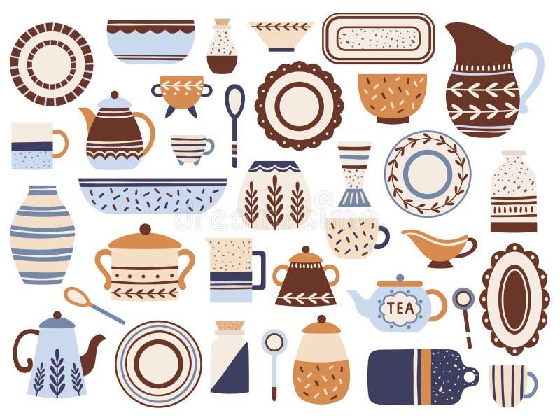 Louça da cozinha Cookware, copos da porcelana e frasco cerâmicos dos produtos vidreiros Grupo liso isolado utensílios de mesa do  ilustração stock