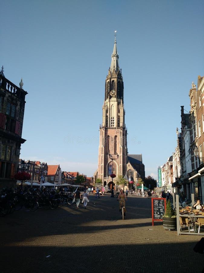Louça de Delft Markt, na louça de Delft, Países Baixos fotografia de stock