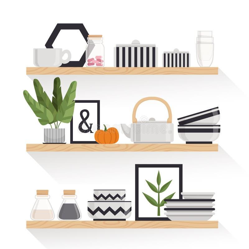 Louça, plantas e imagens à moda em um estilo escandinavo em prateleiras de madeira Elementos do interior Ilustração do vetor ilustração do vetor