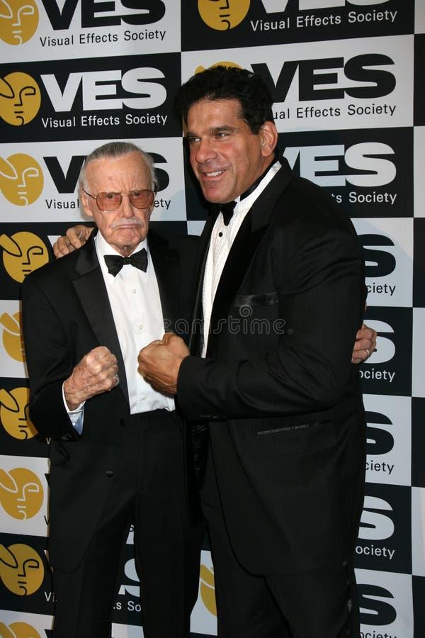 Lou Ferrigno, Stan Lee immagini stock