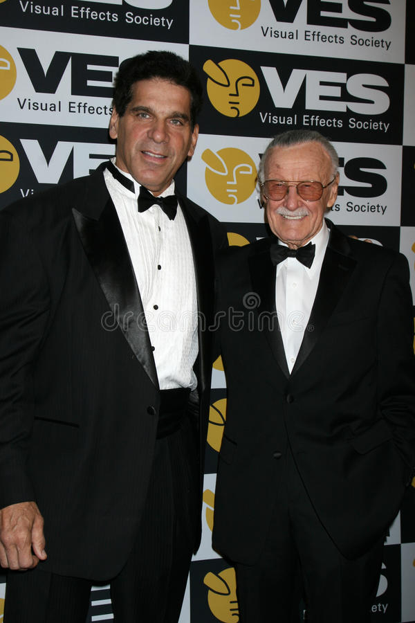 Lou Ferrigno, Stan Lee image stock