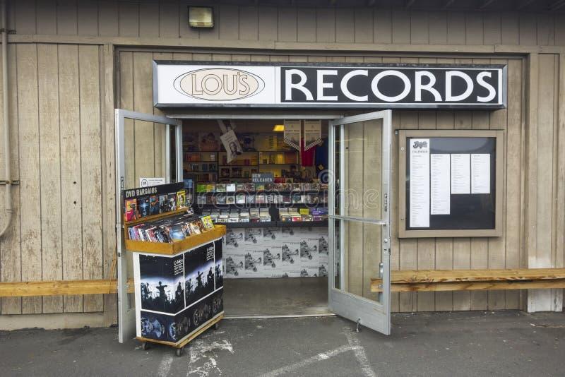 Lou-` s notiert Music Store-Front in Encinitas Kalifornien lizenzfreie stockfotos