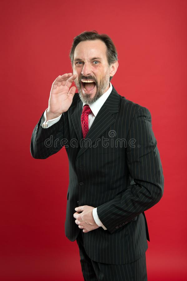 Loud announcement. Man shouting to you. Man try to persuade you in something. Mature charismatic speaker shouting. Public talk and art of persuasive. Oratory stock photos