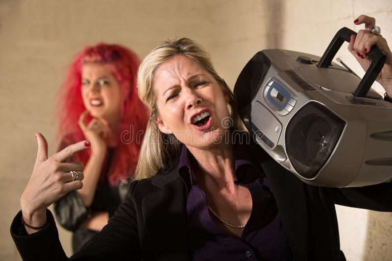 Loud Parent with Radio royalty free stock photos