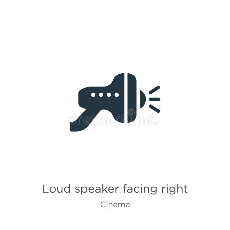 Loud speaker facing right icon vector. Trendy flat loud speaker facing right icon from cinema collection isolated on white royalty free illustration