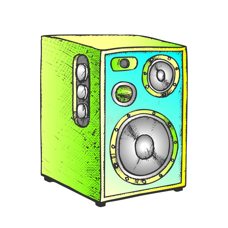 Loud Speaker For Listening Music Color Vector royalty free stock photography