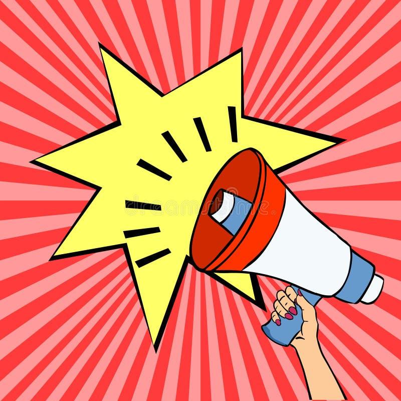 Loud speaker vector stock image.Woman hand holding megaphone vector stock. Vector illustration of megaphone. Loud speaker vector stock image stock illustration