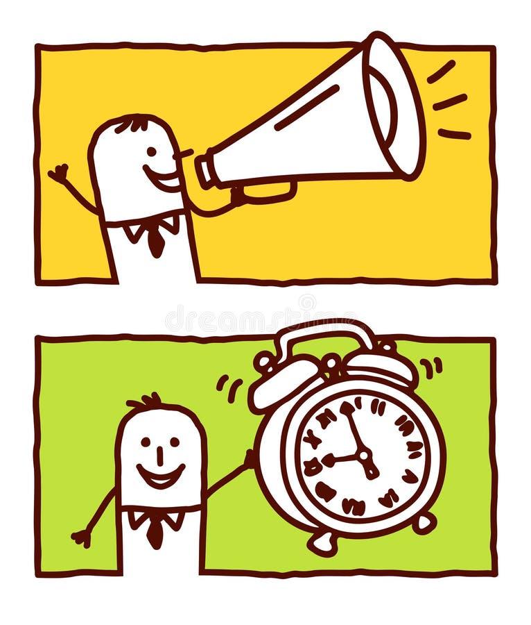 Loudhailer y reloj de alarma stock de ilustración