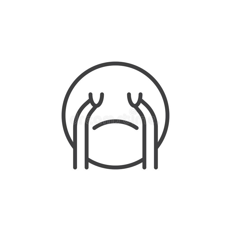 Loudly Crying Face emoji line icon. Linear style sign for mobile concept and web design. Crying emoticon outline vector icon. Symbol, logo illustration. Vector royalty free illustration