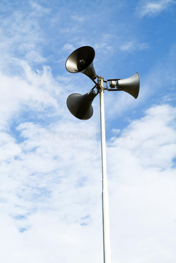 Loudspeaker 01. Loudspeaker against the blue sky stock photos