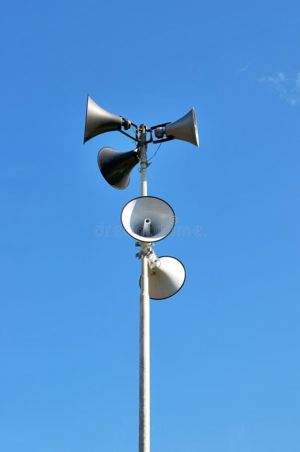 Loudspeaker. Public broadcasting system and information broadcasting stock image