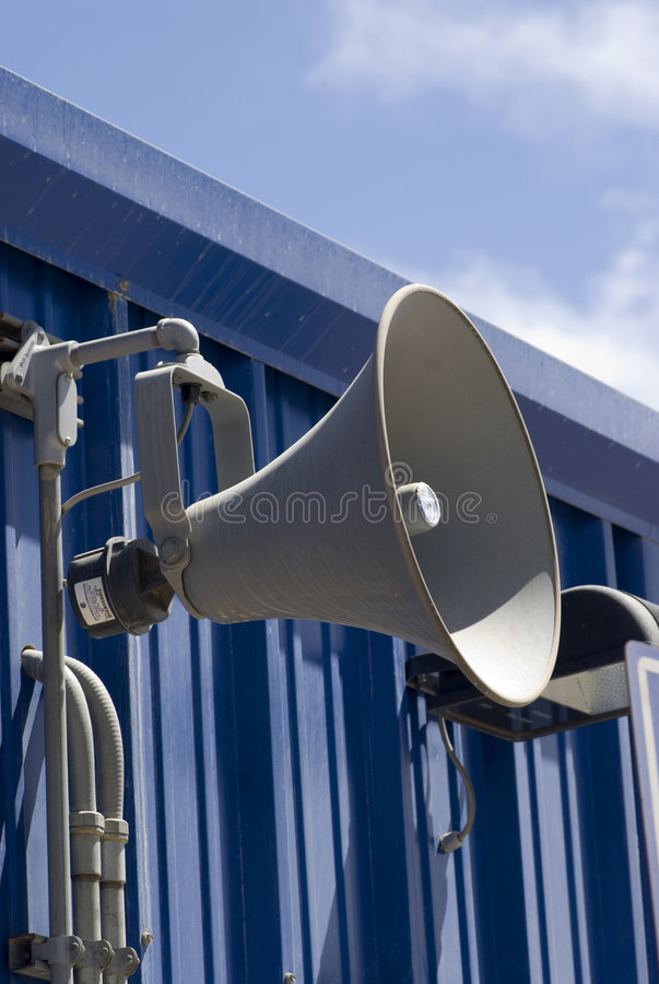 Loudspeaker. Public announcement system in a factory royalty free stock photo
