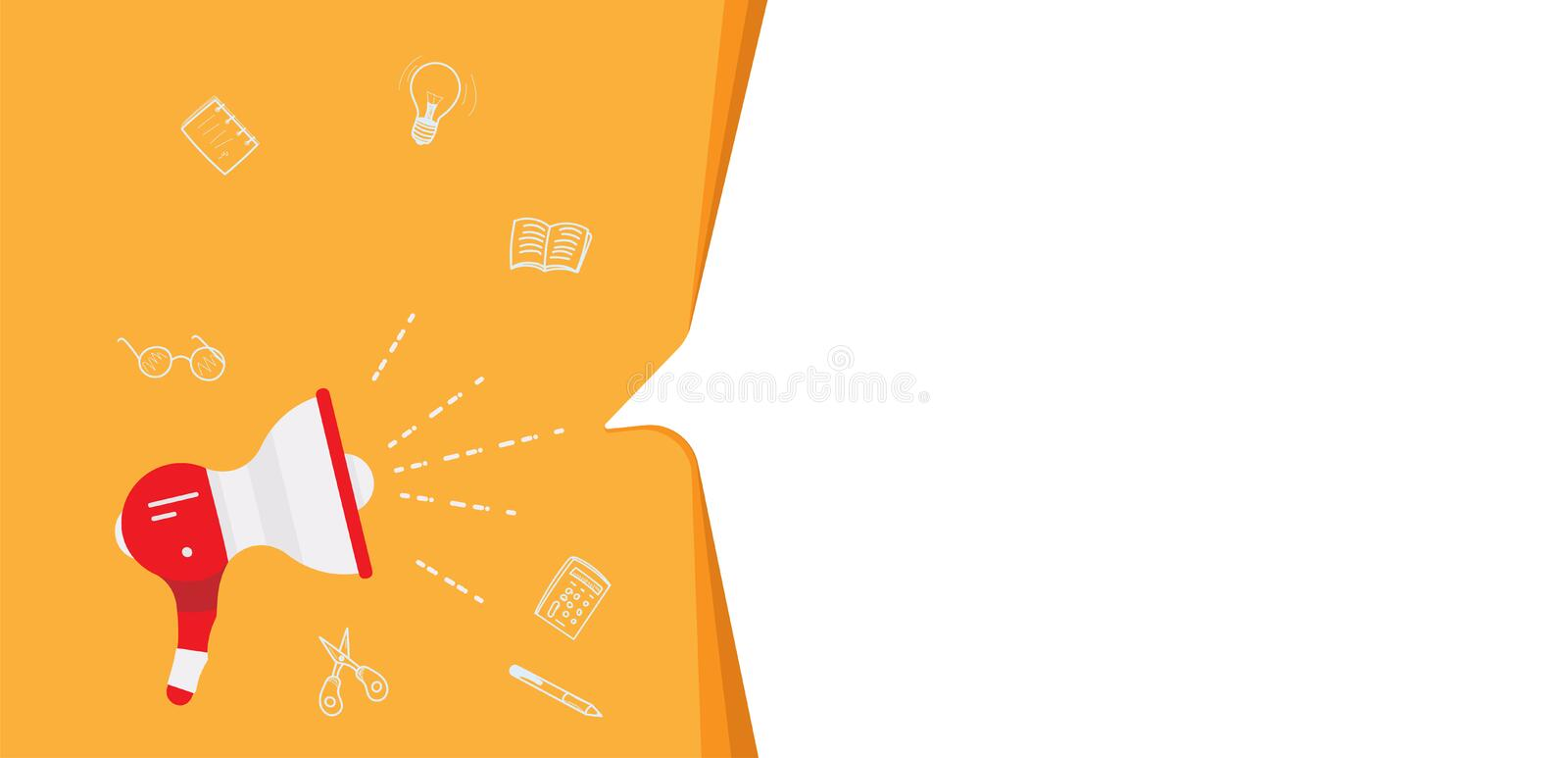 Loudspeaker with bubble speech and doodle icons. Flat vector illustration EPS 10.  stock illustration