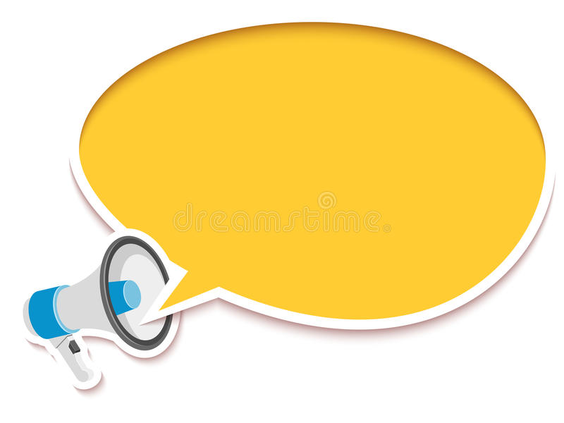 Loudspeaker and comic speech bubble. Vector illustration made in sticker style vector illustration