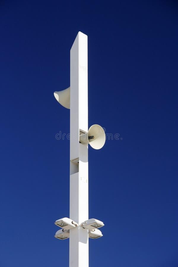 Loudspeaker and Light Pole stock photos
