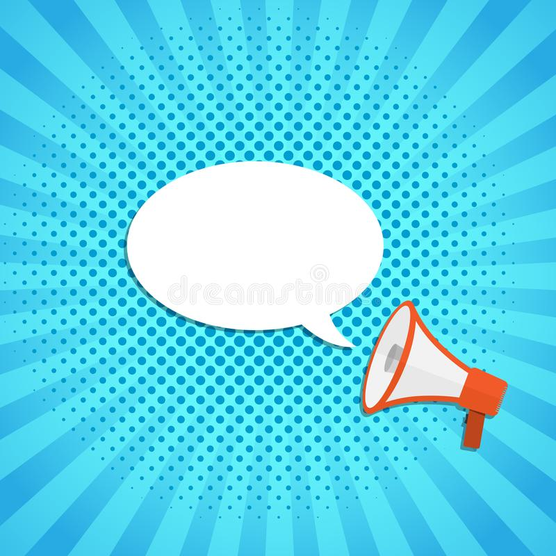 Loudspeaker or megaphone with speech bubble. Vector illustration. Loudspeaker or megaphone icon. Red megaphone with blank speech bubble, on blue background stock illustration