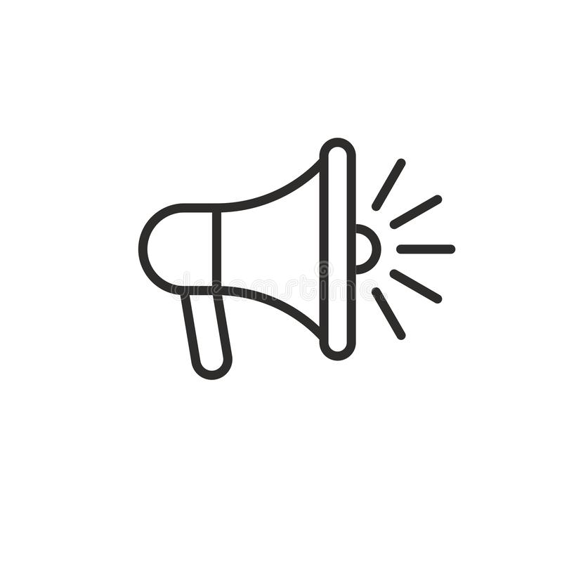 Loudspeaker megaphone line black icon stock images